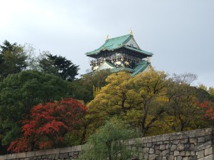 View from the distance of Osaka Castle during Autumn