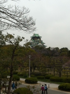 Osaka Castle from afar during Spring