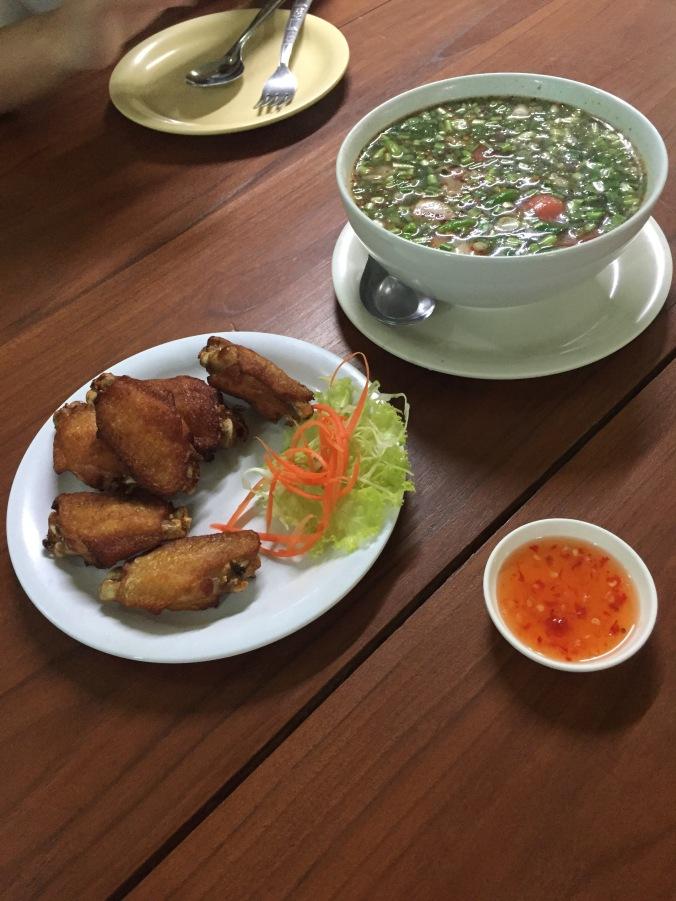 Fried Chicken Wings & Soup